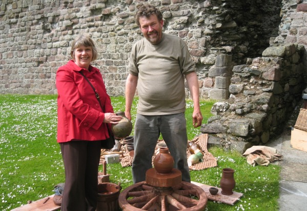 Graham Taylor making a replica of the green glazed jug in the museum's collection. This was part of a DBLPS event at Rothesay Castle
