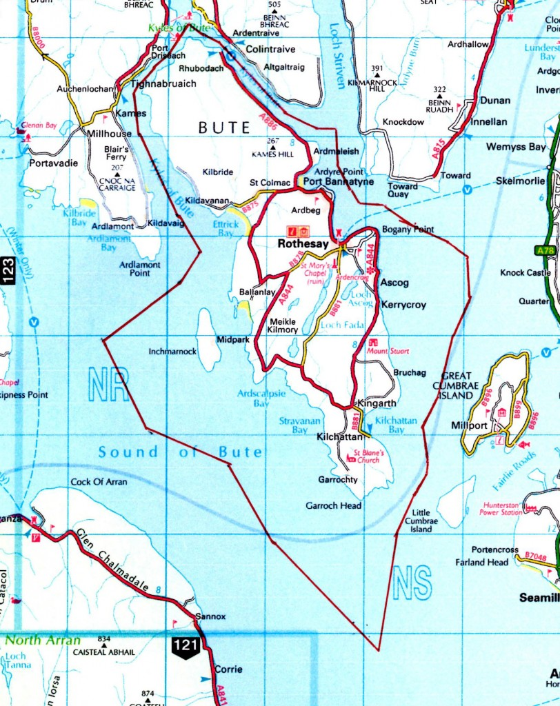 Bute waters (indicated by the red line surrounding Bute)