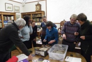 Examining the cupmarked stones from the museum collection at the Rock Art workshop.